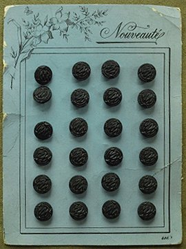 early 20th c. dead stock glass button sheet