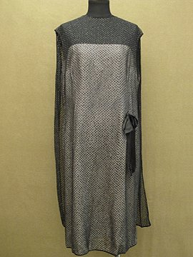 1920 - 1930's black silk chiffon glitter dress