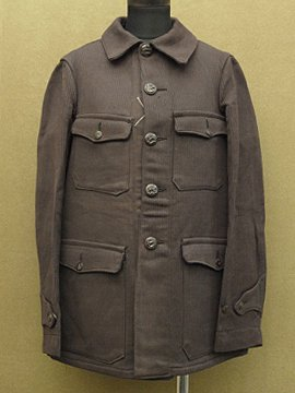 cir. mid 20th c. dead stock brown cotton pique hunting jacket