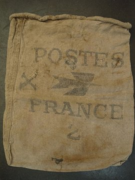 cir. mid 20th c. french linen mail sack I