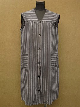 cir.1940's striped cotton work dress N/SL