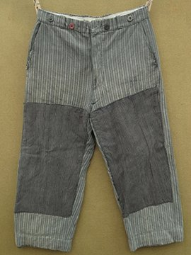 cir. 1940 - 1950's striped cotton work trousers
