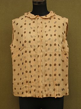 cir. 1940 - 1950's brown dots silk sleeveless top