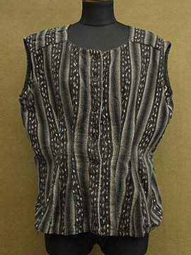 cir. 1920 - 1930's striped cotton sleeveless top