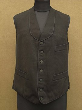 cir. early 20th c. black wool gilet