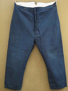 cir.1930-1940's indigo cotton work trousers