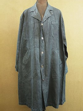 cir.1920's-1930's indigo linen work coat
