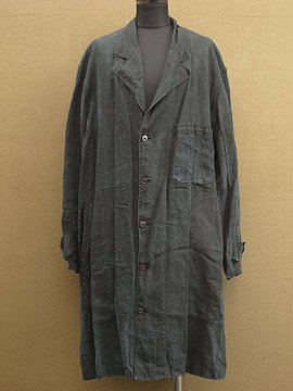 1940 - 1950's indigo linen work coat