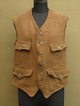 cir.1930-40's brown pique hunting gilet