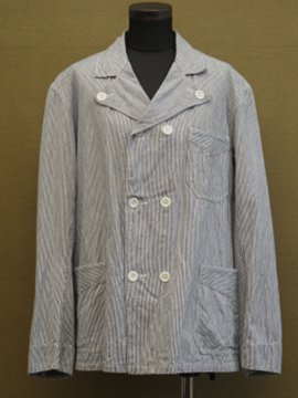 mid 20th c. striped cook/butcher jacket