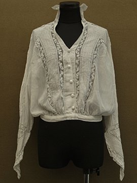 cir.1900's pintuck × lace blouse L/SL