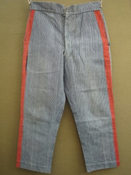 cir. 19th c. indigo striped fireman trousers