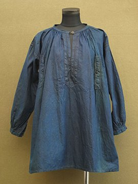 early 20th c. indigo linen × cotton smock