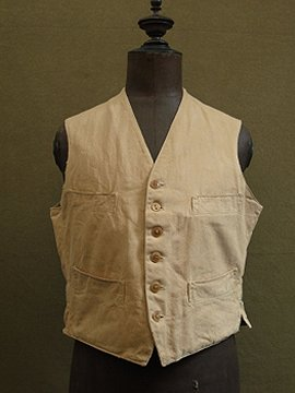 cir.1940's beige cotton gilet