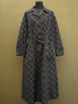 1930-1940's checked black work dress dead stock
