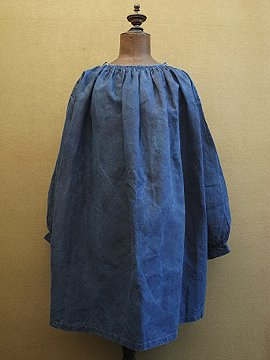 late 19th - early 20th c. indigo linen smock