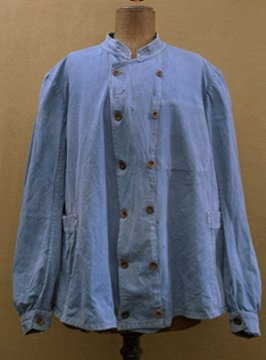 cir.1930's blue cotton double-breasted work jacket