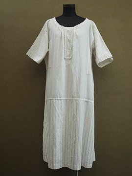 early 20th c. striped cotton dress S/SL