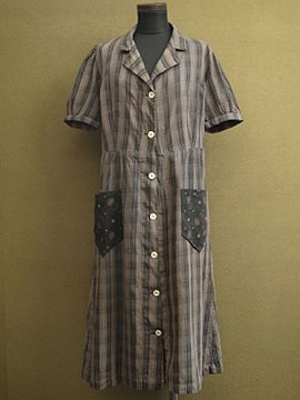 1930's checked work dress S/SL