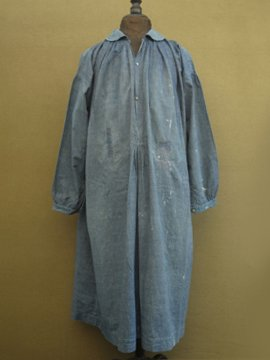 cir. early 20th c. indigo striped cotton smock