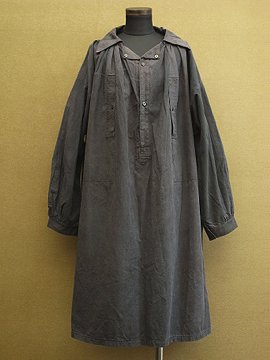 cir.1920-1930's black linen x cotton work smock