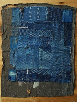 cir.19th c. patched indigo cloth