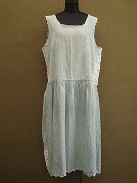 early 20th c. indigo striped underdress