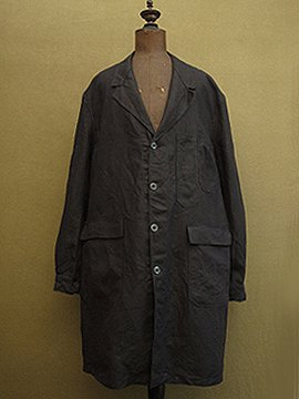 cir. 1950's black linen Maquignon work coat dead stock