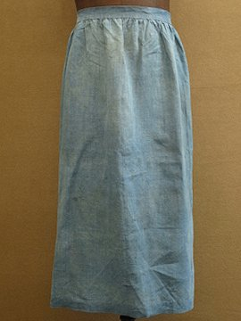 early 20th c. indigo linen apron