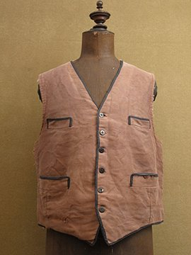 cir. 1940-1950's brown moleskin gilet