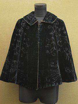 early 20th c. black velvet beaded cape