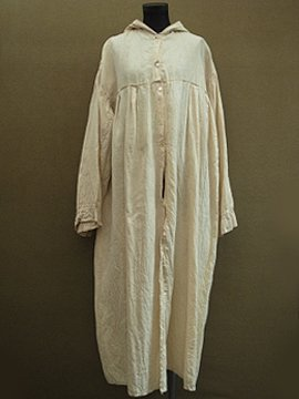 late 19th c. linen smock / coat with hood