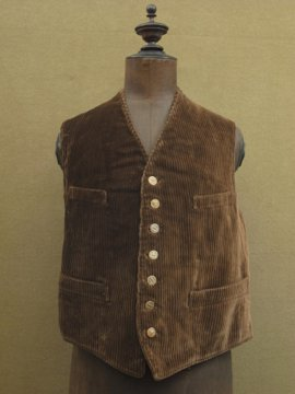 cir.1930's-1940's brown cord hunting gilet