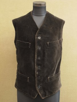 cir.1930's dark brown velveteen gilet