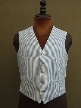 cir.1930-1940's indigo striped gilet