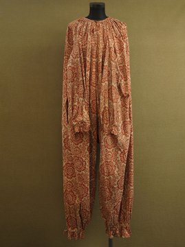 early 20th c. red printed fabric clown costume