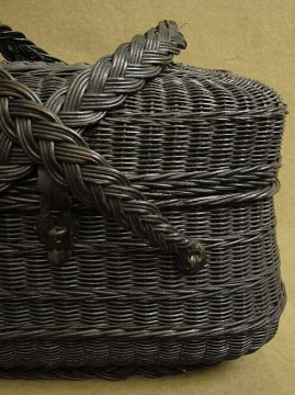 late 19th - early 20th c.black basket bag