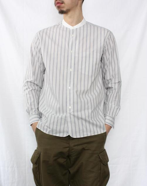STILL BY HAND バンドカラーシャツ  GREY STRIPE