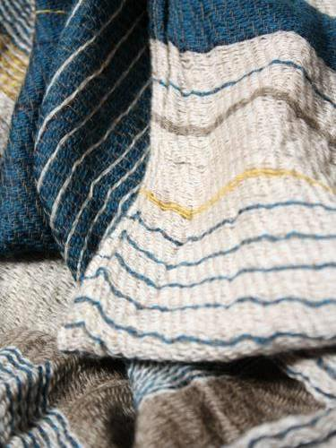 tamaki niime 玉木新雌 roots shawl wool × cotton middle リバーシブル