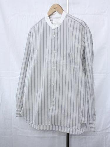 STILL BY HAND バンドカラーシャツ  GREY STRIPE mens
