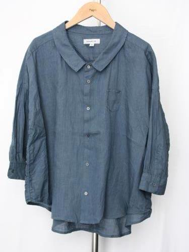 Ordinary fits BARBER SHIRTS linen BLUE ladies