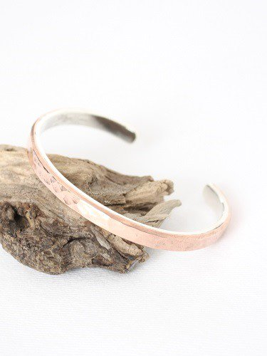 Slow Rise silver&copper bangle hammer finish unisex