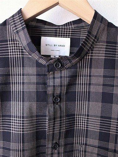STILL BY HAND バンドカラーチェックシャツ mens