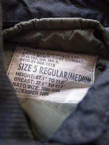 カナダ軍 MK2 コンバットジャケット BLACK USED mens