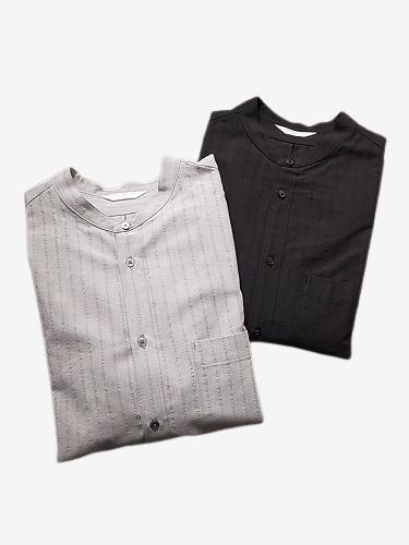 STILL BY HAND シャドーストライプバンドカラーシャツ mens