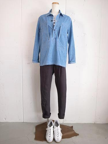 《50% OFF》 DAILY WARDROBE INDUSTRY DAILY UTILITY SHIRT USED DENIM unisex