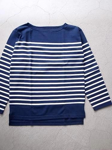 Le minor by DAILY WARDROBE INDUSTRY ボーダーバスクシャツ marine × white unisex