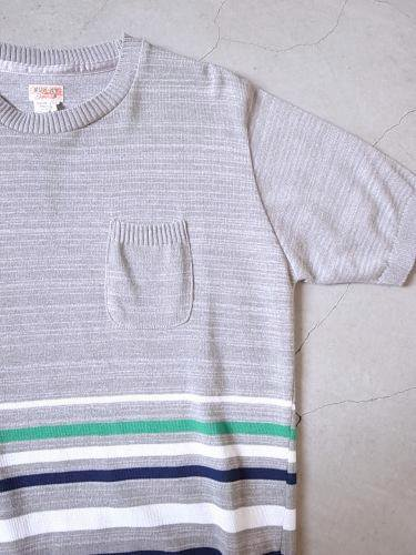 《50% OFF》 SUNNY SPORTS ボーダー半袖ニット GREY mens