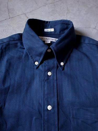 INDIVIDUALIZED SHIRTS HERRINGBONE B.D Standard fit NAVY mens