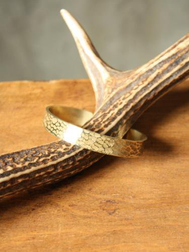 Slow Rise hammer finish brass bangle L. unisex